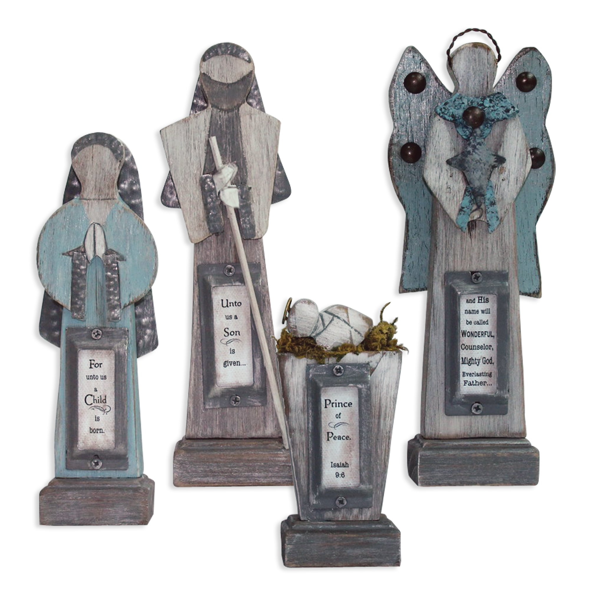 Enesco Reason to Rejoice by Gregg Gift Wood 4 Pc Nativity by Enesco (Image #1)