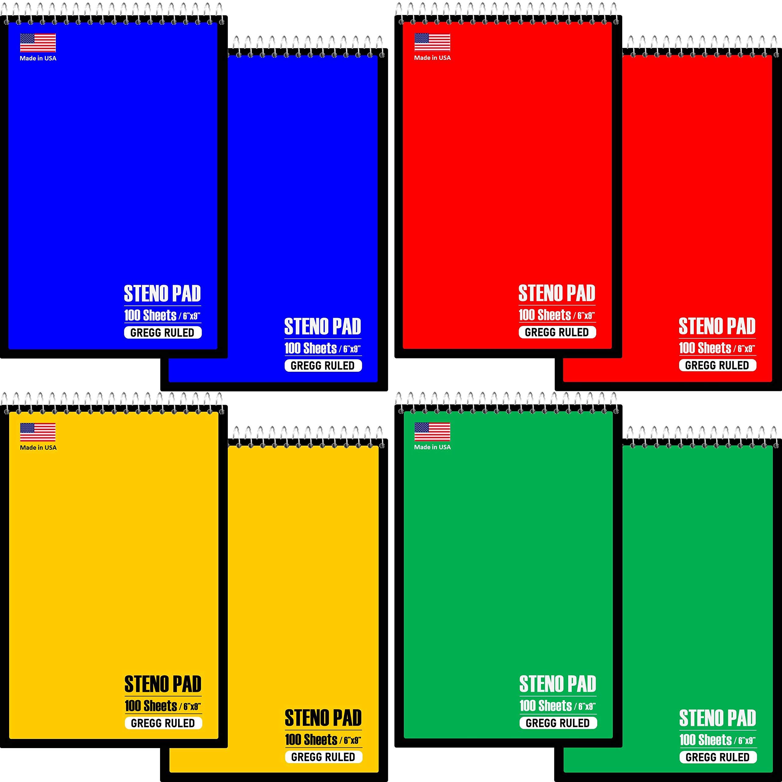 "Steno Pad - 100 Sheets 6"" X 9"" Gregg Ruled"