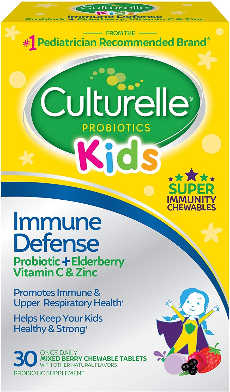 Culturelle Kids Immune Defense, Probiotic + Elderberry, Vitamin C and Zinc, Immune Support for Kids, Mixed Berry Chewables, 30 CT