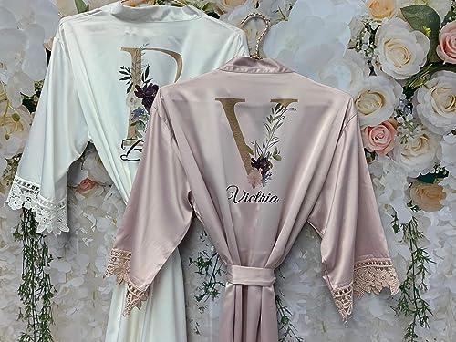 Bridal Party Robes Bride Robe White COMFORTABLE Bridal Robe Getting Ready Robe Lace TRIM Wedding Robe Kimono Robe Personalized Robes