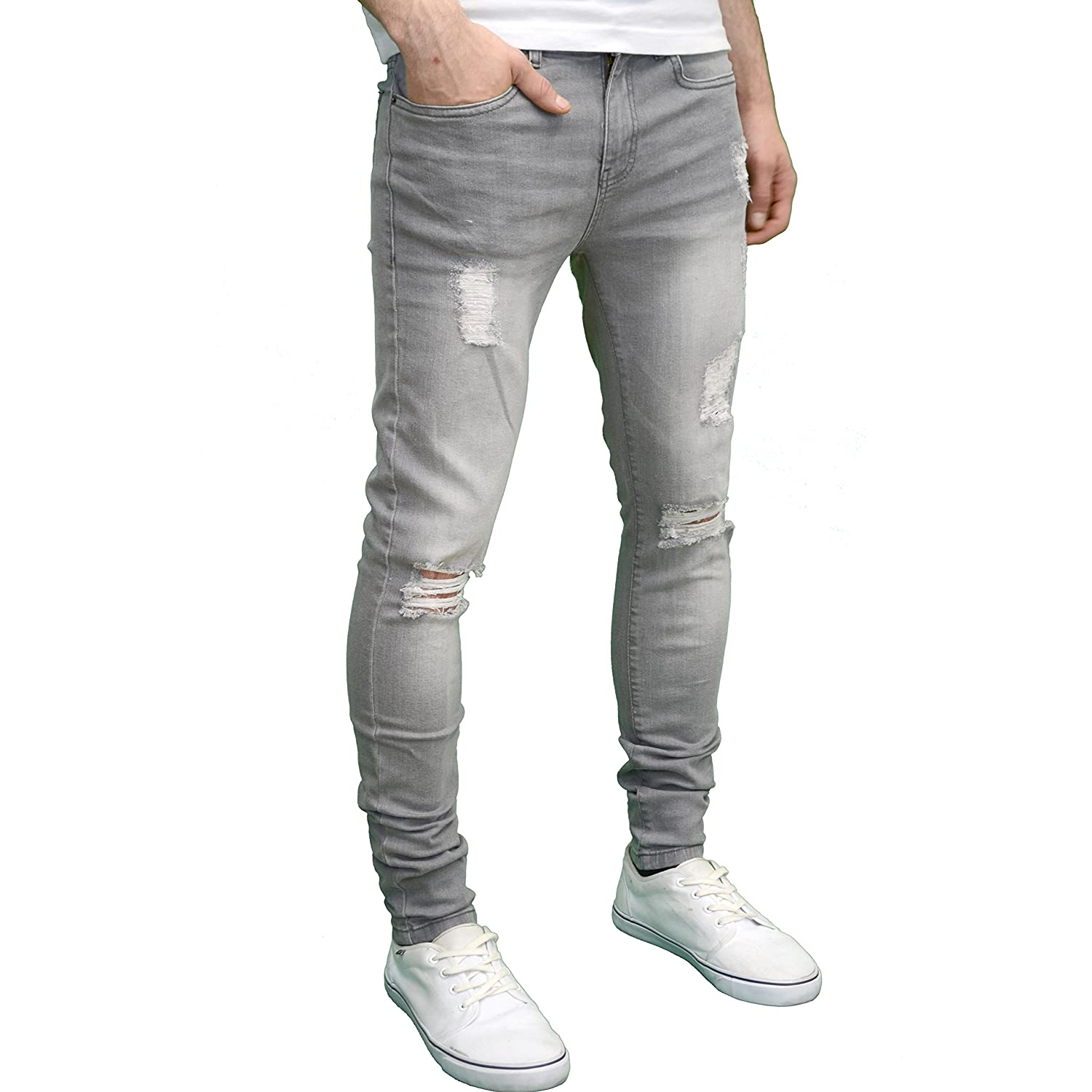 12bcd87a0 Enzo Mens Ripped Super Stretch Skinny Distressed Jeans (42W x 30L, Grey) at  Amazon Men's Clothing store: