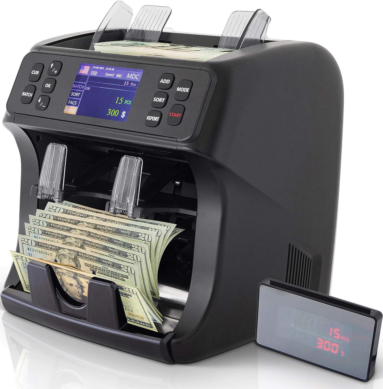 DETECK Edge 2 Pocket Mixed Denomination Money Value Counter Machine 2 Yr Warranty Bank Grade Money Counting Machine Mixed Bills Counterfeit Detection (UV/MG), Reject Pocket Sorting & Printing Enabled