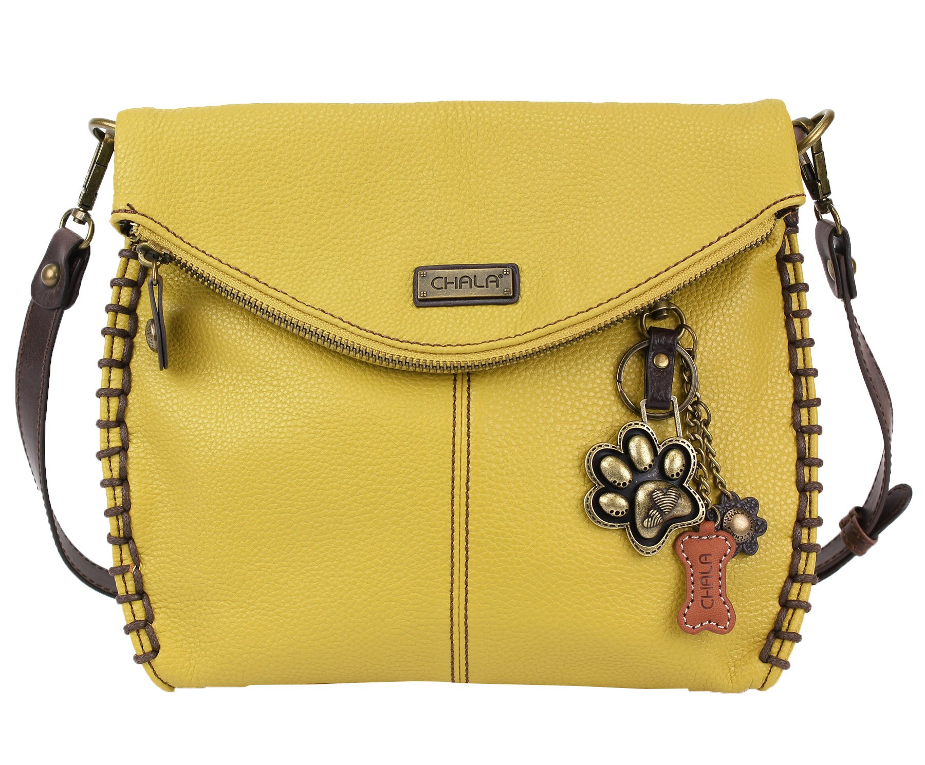 Chala Charming Crossbody Bag With Flap Top | Flap and Zipper Mustard Cross-Body Purse or Shoulder Handbag with Metal Chain - Paw Print