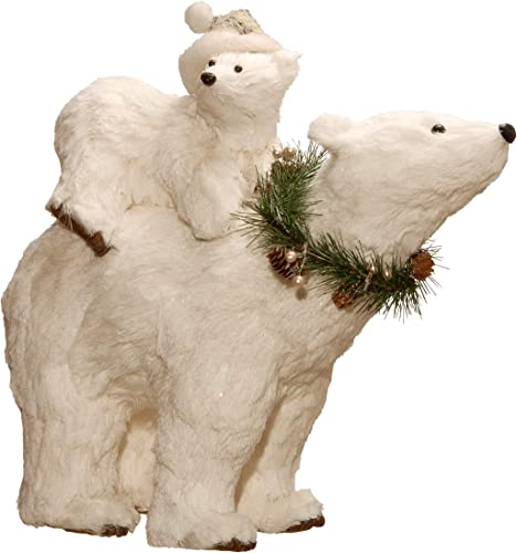 National Tree 14.5 Polar Bear with Cub, White