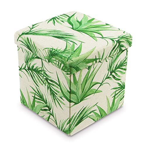 Ikee Design Tropical Leaves Pattern Folding Storage Ottoman – Areca Palm Polyester Collapsible Cube Foot Rest Stool Coffee Table