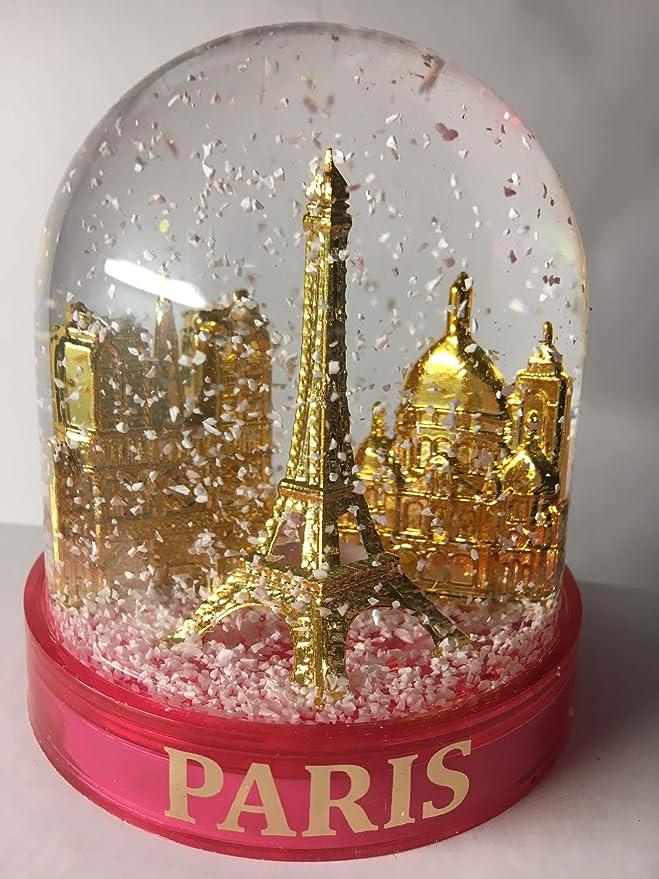 Boule de Neige Tour Eiffel et autres Monuments de Paris Socle transparent en plastique de qualit/é Made in France Neige blanche classique Taille moyenne 10CM Boule avec des Monuments dor/és