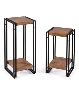 FIVEGIVEN Side Table Set Of 2 For Bedroom End Table Set For Living Room  Wood And