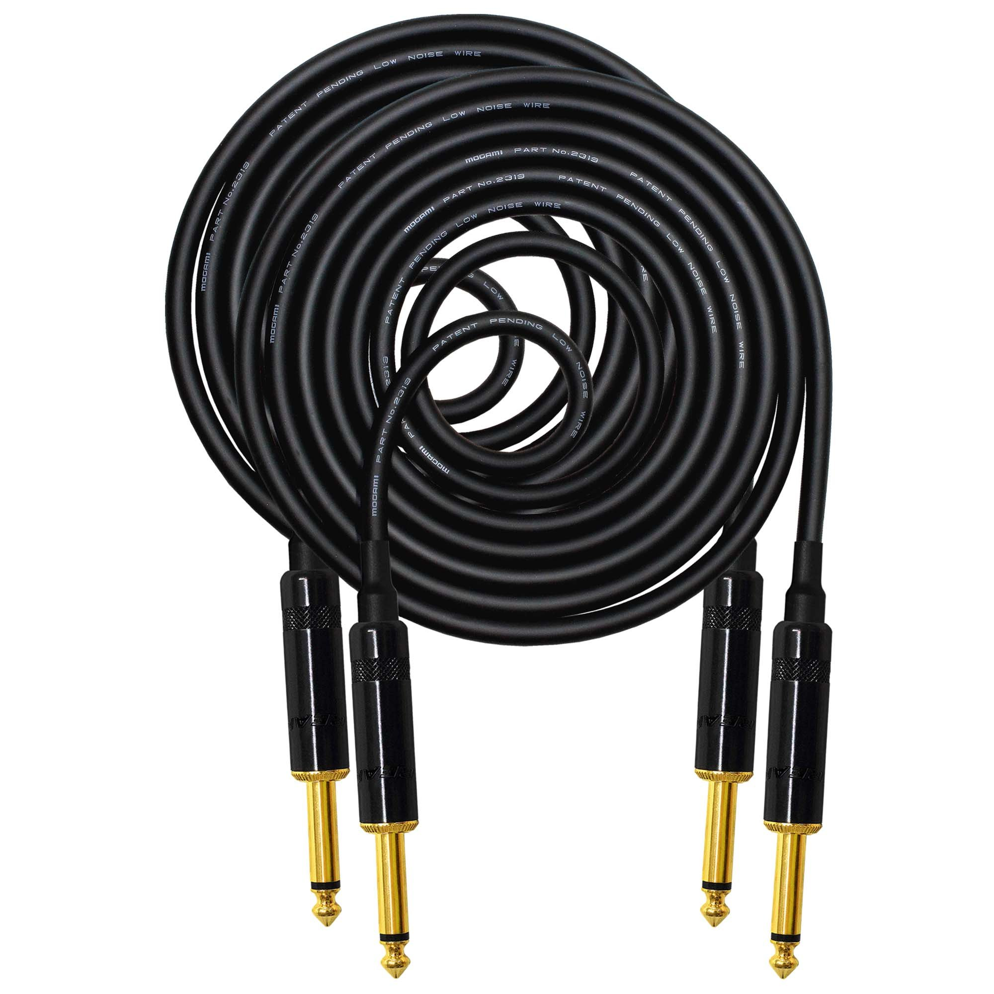 2 Units - 10 Foot -Pedal, Effects, Patch, Guitar instrument cable CUSTOM MADE By WORLDS BEST CABLES - made using Mogami 2319 wire and Neutrik-Rean NYS224BG Gold ¼ inch (6.35mm) TS Plugs