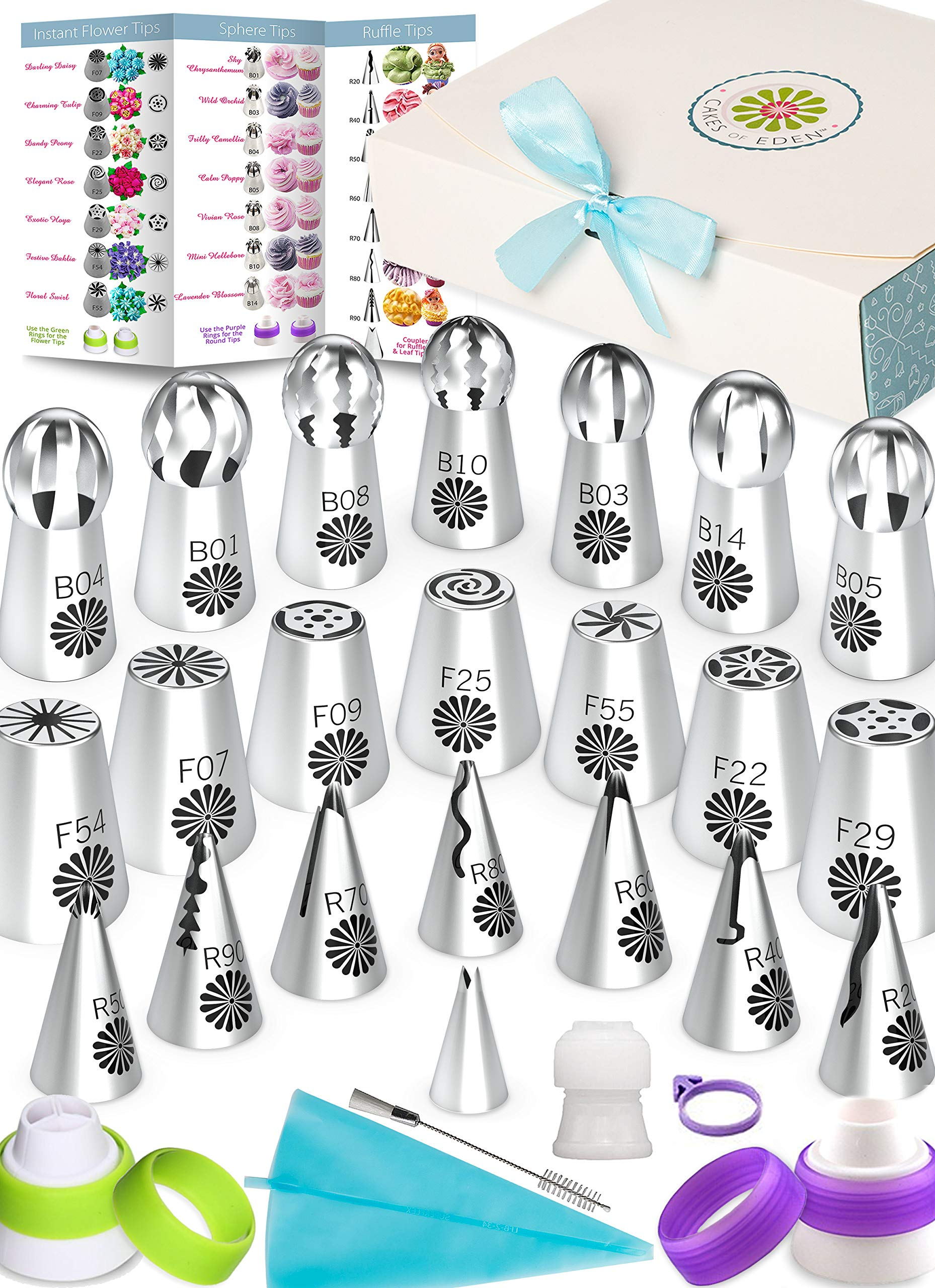 VARIETY RUSSIAN PIPING TIPS SET - 69pc Instant Flower Shaped Frosting Cupcake & Cake Decorating Icing Nozzles. Bonus Supplies, Baking Accessories, Pastry Bags, Recipes & Video Tutorials For Beginners by Cakes of Eden