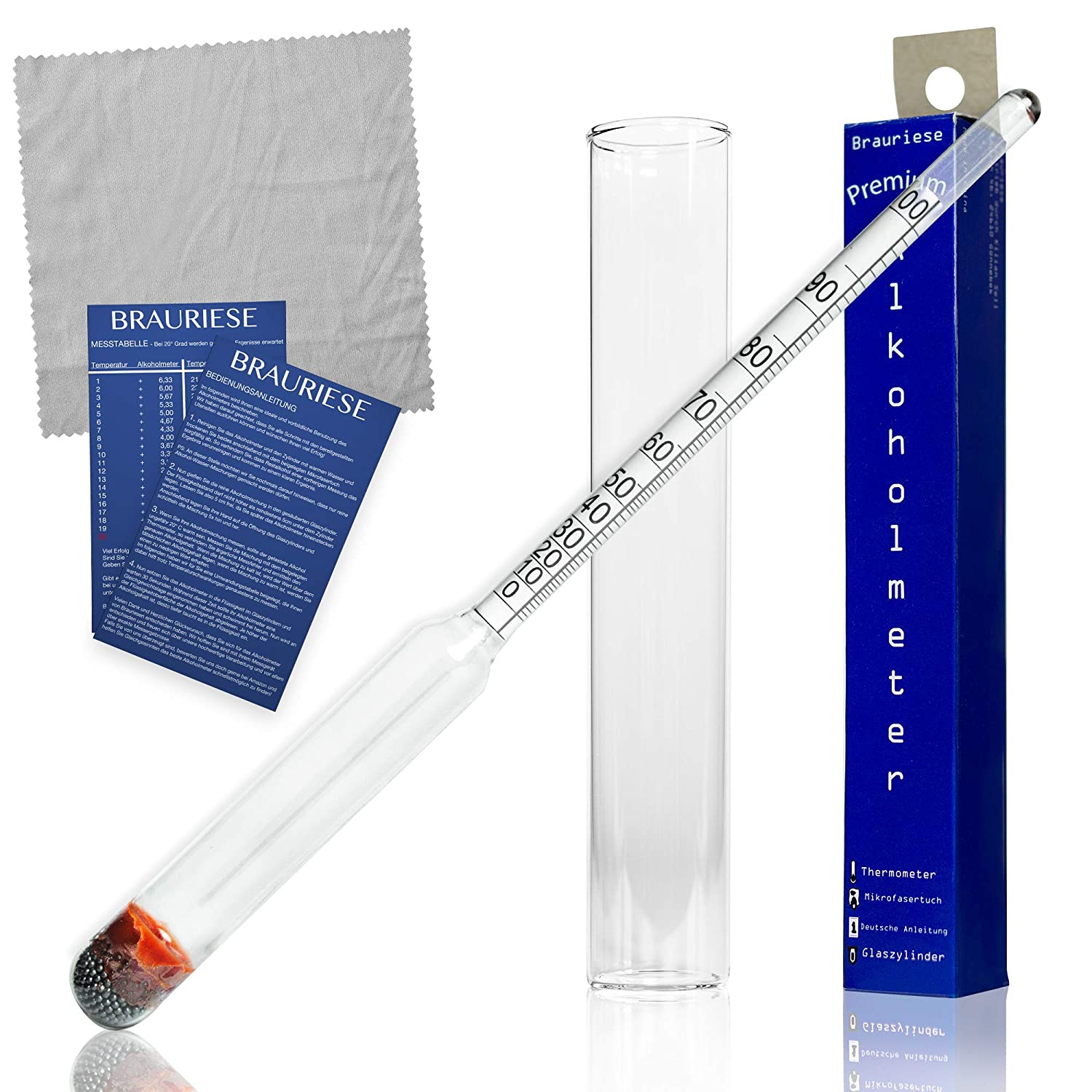 All in One Set Hydrometer Alcohol Braugiese Premium Alcohol Meter Set Alcohol Spindle with Glass Cylinder and Practical Microfibre Cloth Without Thermometer 20 cm