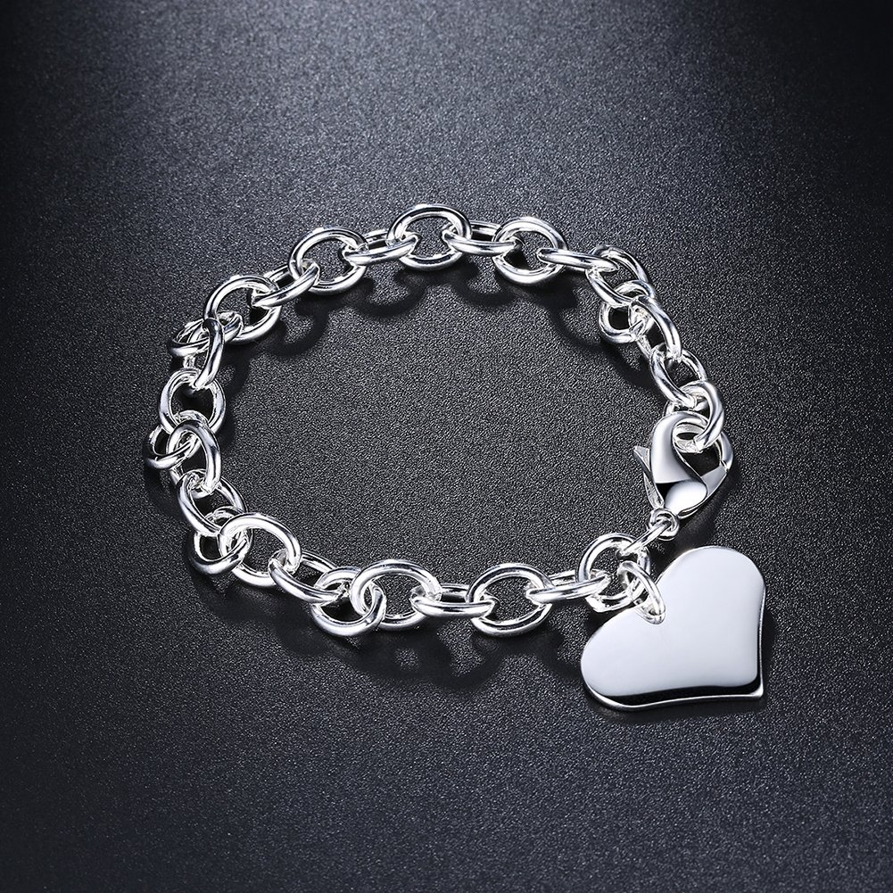 Fashion Love Heart Bangle Bracelet Dangle Chain Girl Popular Jewelry Silver Plated