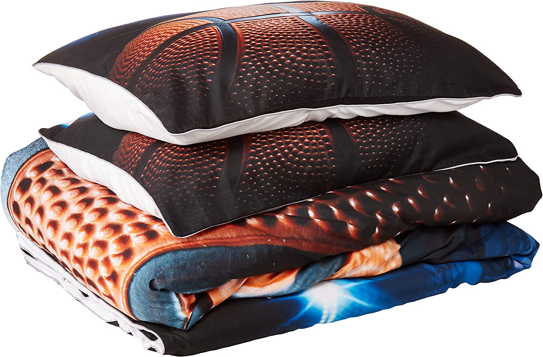 SHINICHISTAR Sport Bedding Set Queen Size, Basketball Comforter Set Gift Bedding for Boys Teens