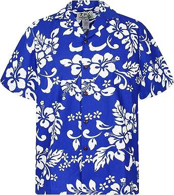 KYs | Original Camisa Hawaiana | Caballeros | S - 4XL | Manga Corta | Bolsillo Delantero | Estampado Hawaiano | Flores | Azul Indigo: Amazon.es: Ropa y accesorios