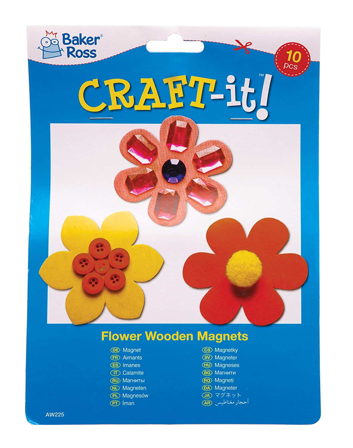 Spring Themed Crafts for Kids to Decorate and Display Pack of 10 Baker Ross Flower Wooden Magnets