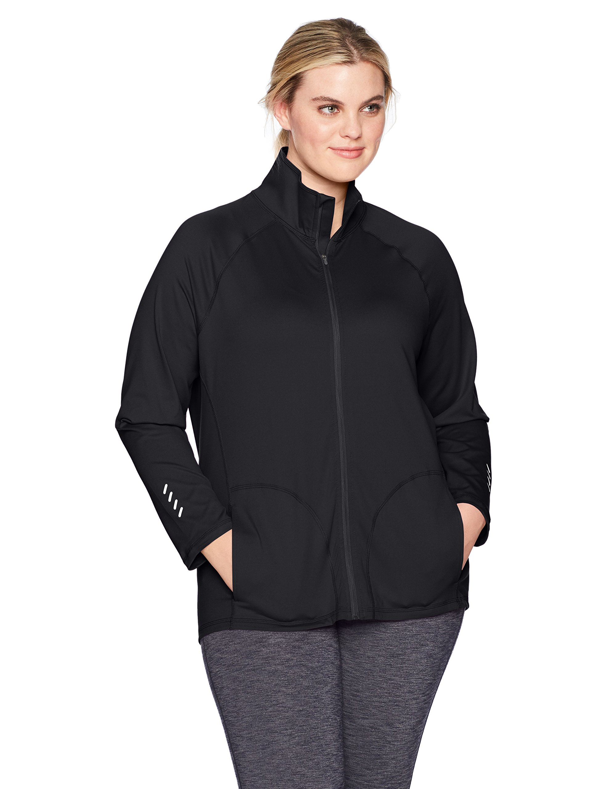 Just My Size Women's Plus Size Active Full-Zip Mock Neck Jacket, Black, 2X
