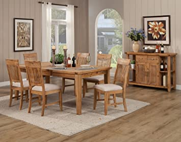 Alpine Furniture Aspen 7 Piece Dining Set, Iron Brush Antique Natural