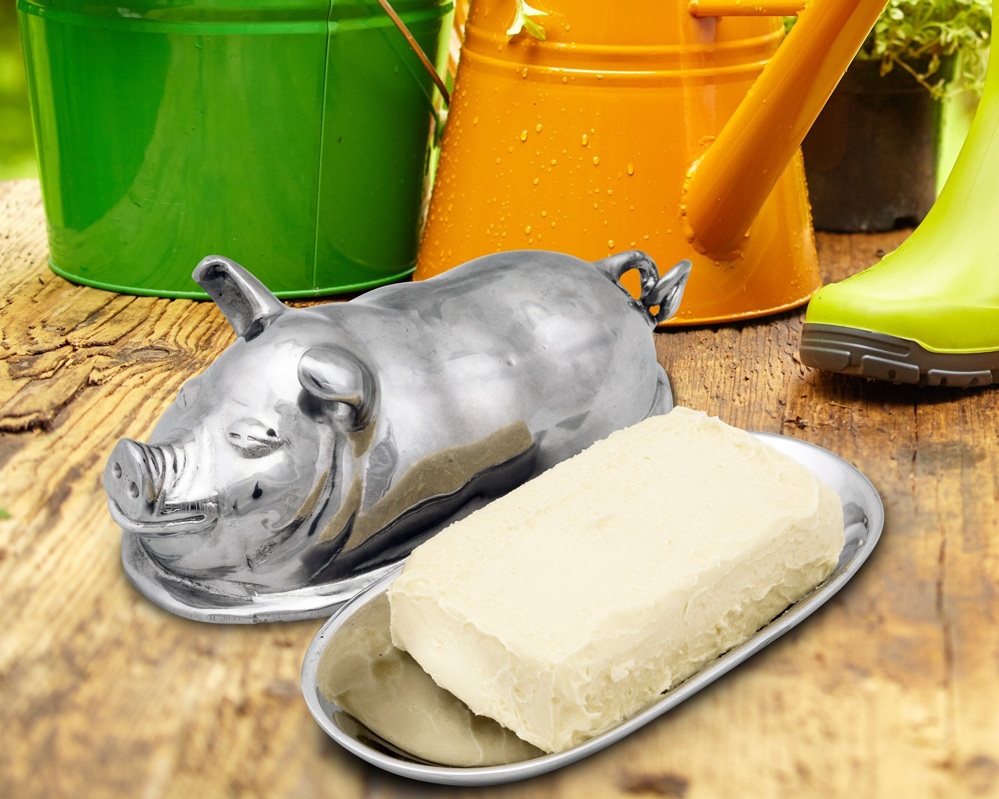Arthur Court Happy Pig Butter Cream Cheese Dish 3.75'' Long x 7.5'' Wide x 3.5'' Tall