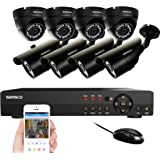 SANSCO Smart CCTV Security Camera System with 8-Channel 1080N DVR, (8) 1MP 720P All High Definition Waterproof Bullet and Dome Cameras, All-in-On Wired Solution for Home Surveillance