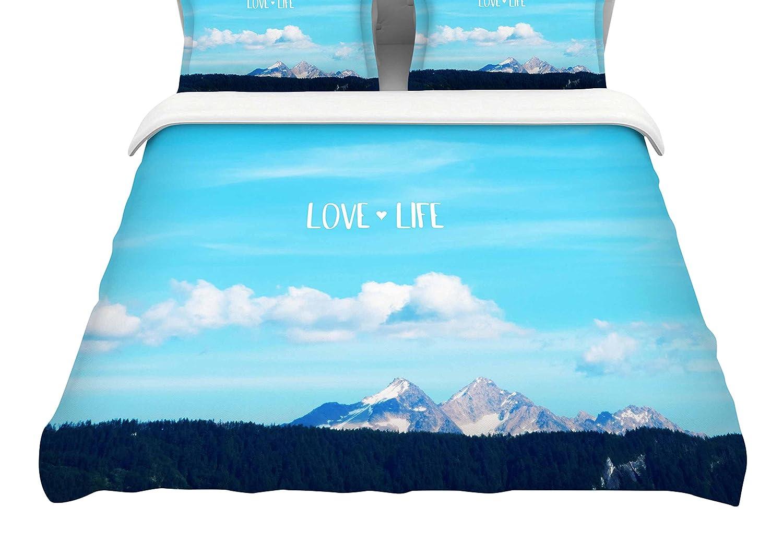 104 x 88, Kess InHouse Robin Dickinson Love Life Blue SkyKing Cotton Duvet Cover