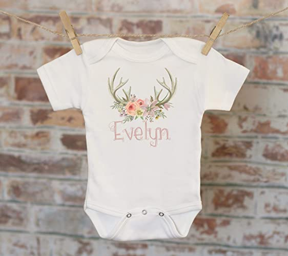 1a2acb438 Amazon.com: Flower Antlers Baby Name Personalized Onesie®, Custom Baby  Onesie, Customized Onesie, Woodland Style Onesie, Boho Baby Onesie, Funny  Onesie: ...