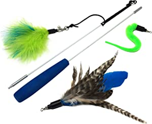 Pet Fit For Life Feather Teaser and Exerciser for Cat and Kitten - Cat Toy Interactive Cat Wand 2 Section 3 Piece
