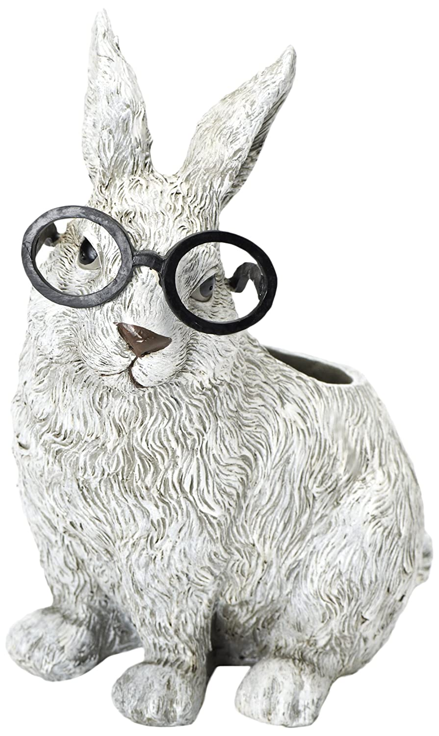 Roman Exclusive White Rabbit Wearing Silly Black Spectacles Planter, 9-Inch, Made of Dolomite/Resin