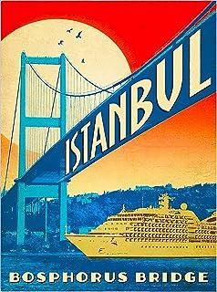 Turkey Istanbul Bosphorus Strait Vintage Airline Travel Art Poster Print