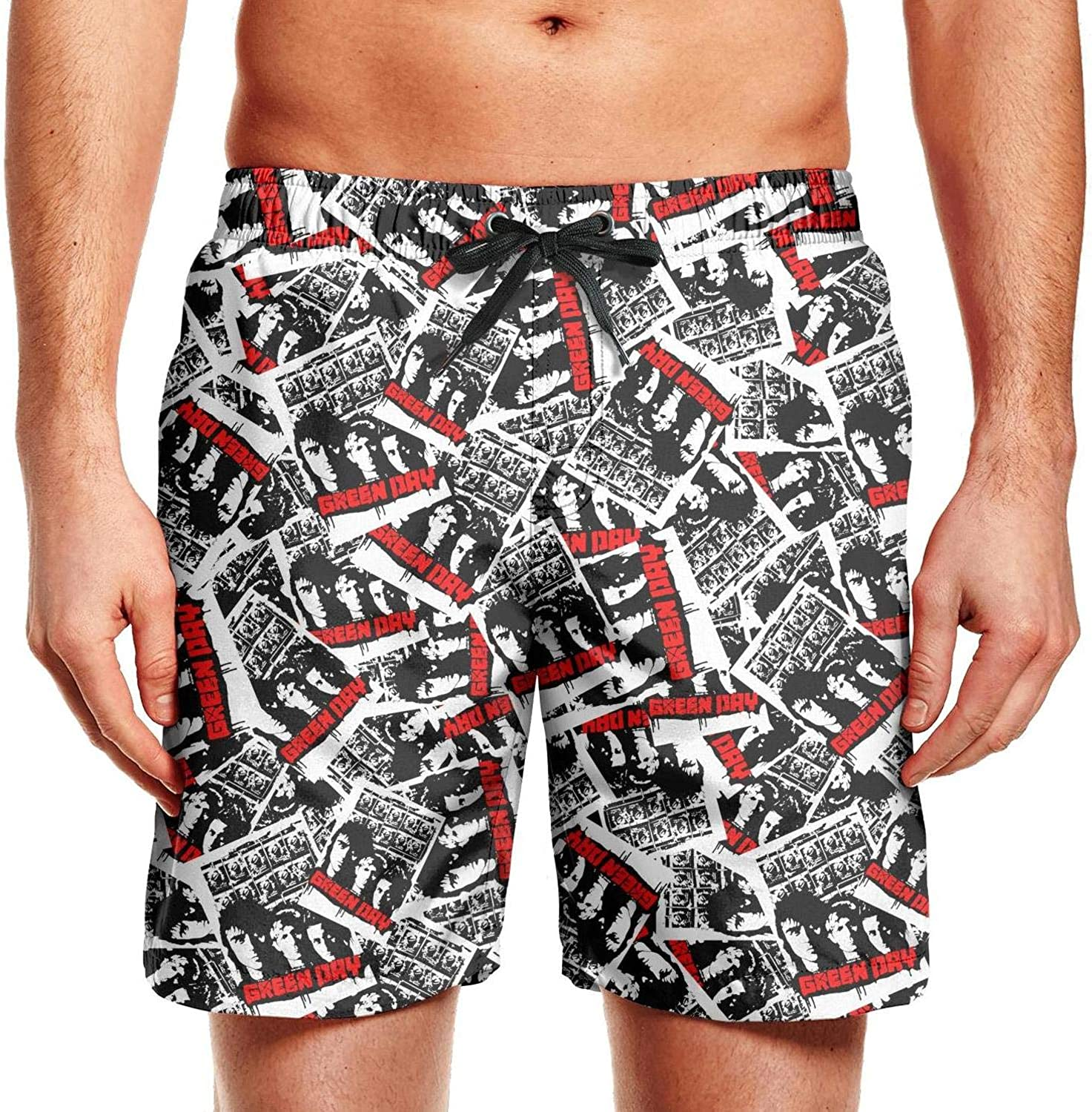 Mens Beach Shorts Popular Music Swimsuit Trunks Jogging Vacation Surfing Board