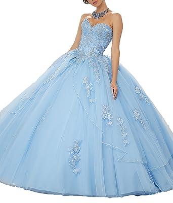 8b079b1b4df2 Onlybridal Women's Sweetheart Lace Applique Sweet 16 Ball Gown Quinceanera  Dress Blue