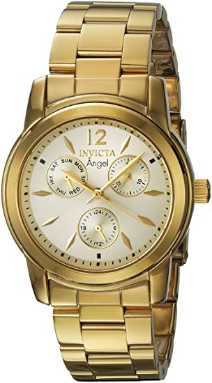 Amazon.com: Invicta Womens Angel Quartz Watch with Stainless-Steel Strap, Gold, 20 (Model: 21691: Invicta: Watches