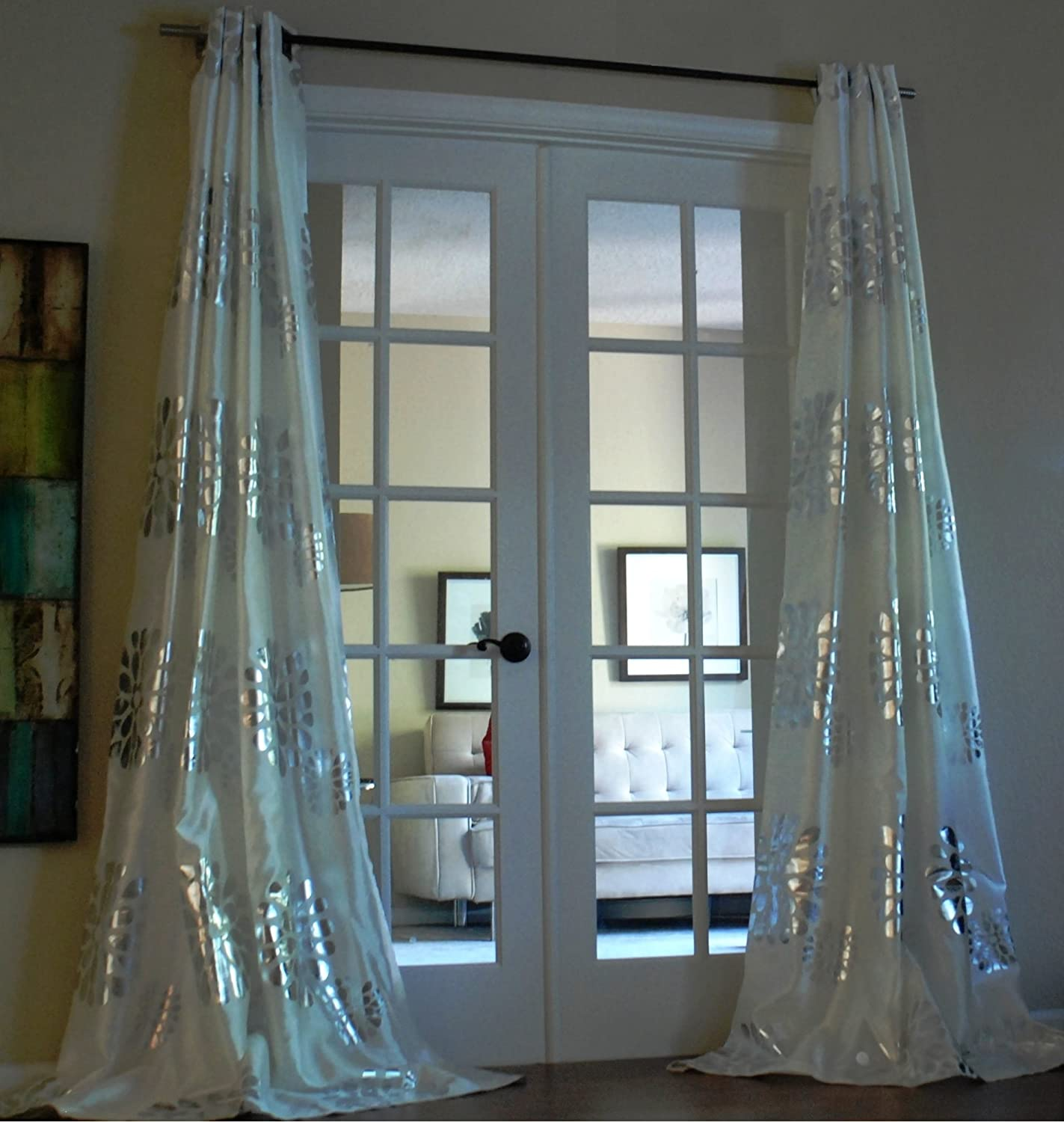 Amazon Sophie Grommet With Bold Silver Metallic Pattern 84 Inch Curtain Panel Home Kitchen