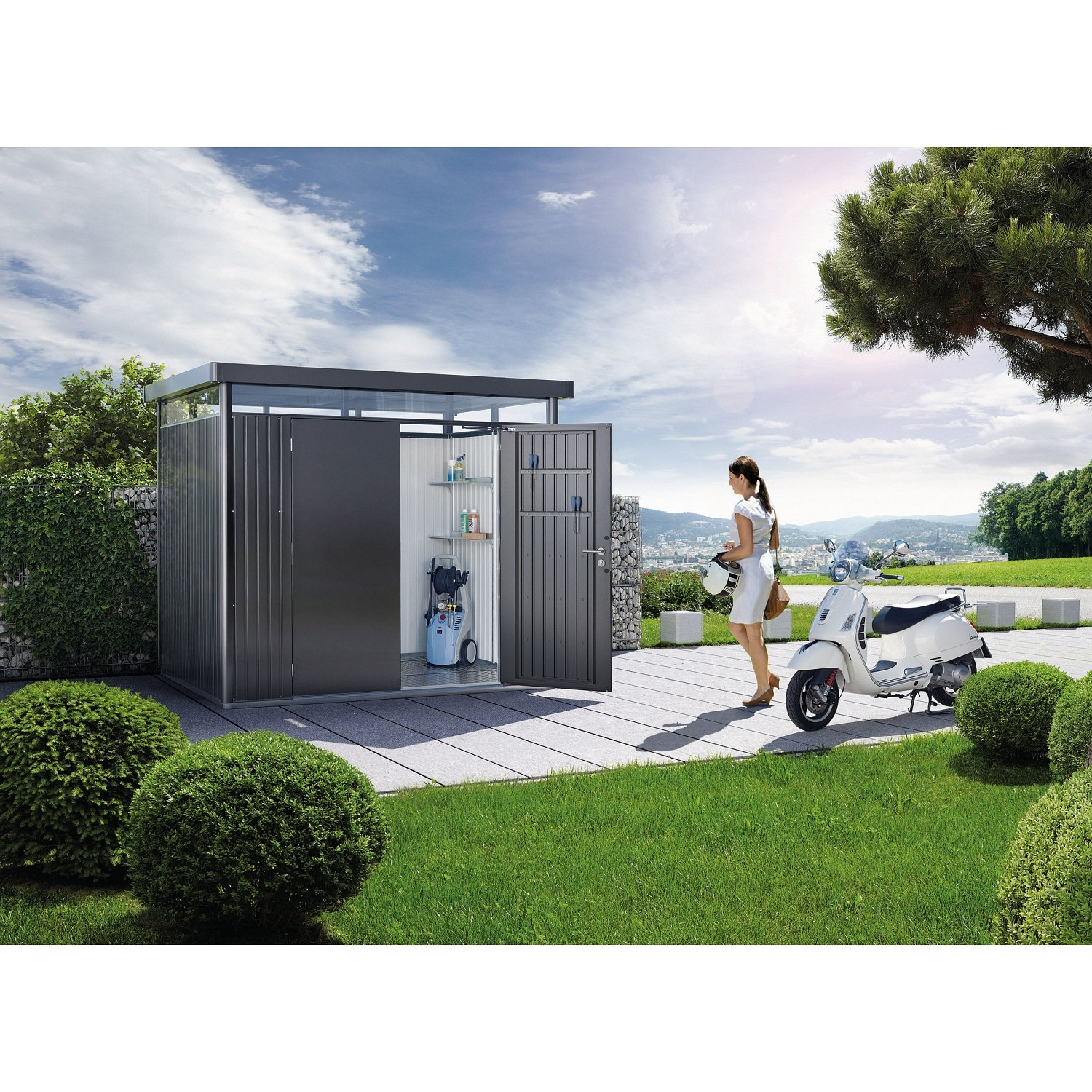 BioHort Highline Metal Shed with Double Doors