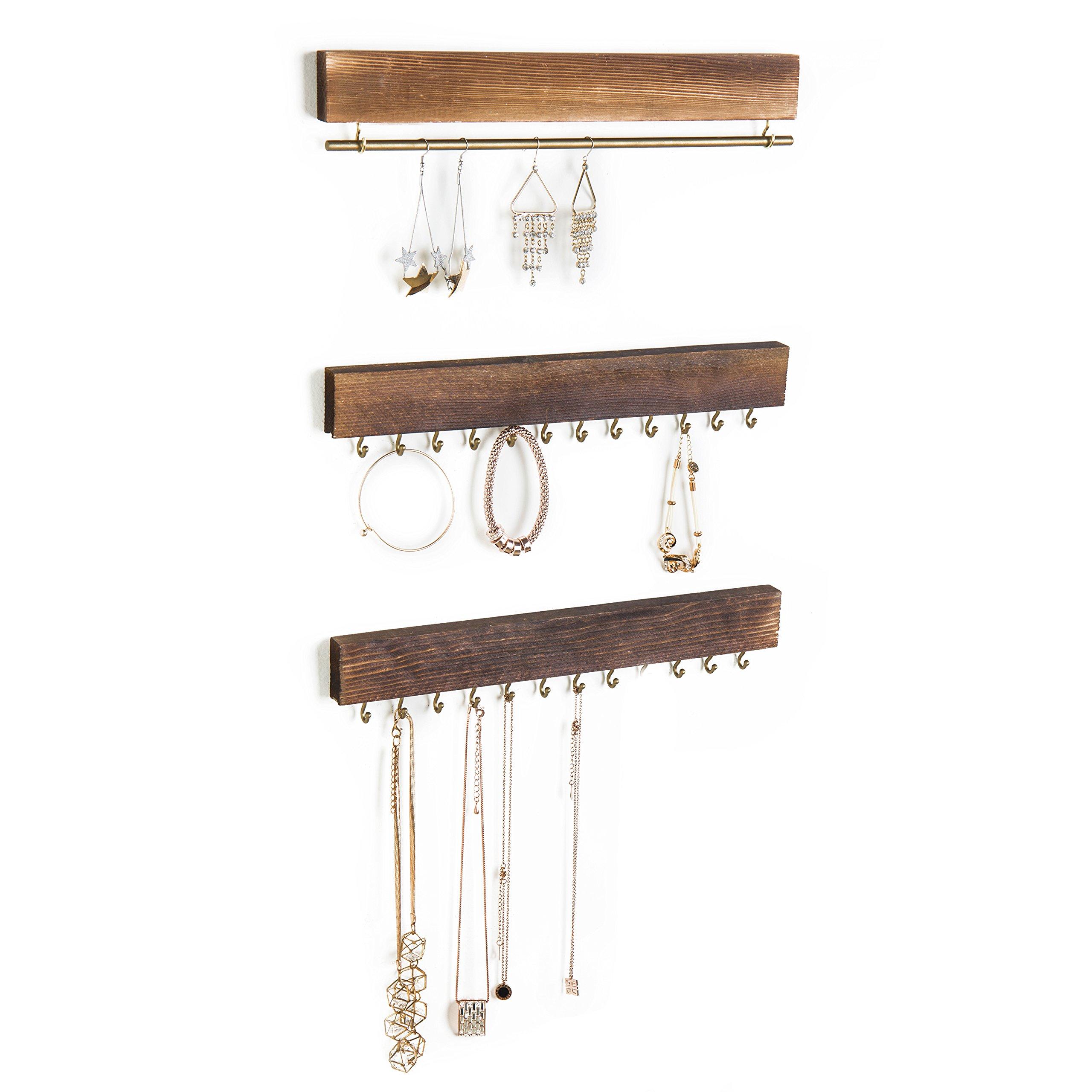 Set of 3 Rustic Wood & Gold Tone Metal Jewelry Organizers / Necklace & Bracelet Hook Racks / Earring Bar