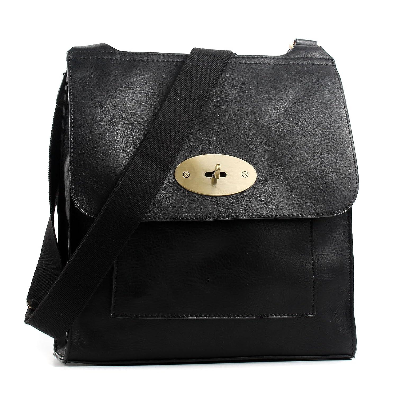 c4d1ae33ca97 Aossta faux leather large medium twist lock cross body messenger bag  turnlock shoulder bag clothing jpg