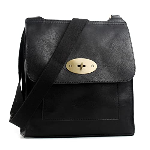 6601873d73fb Aossta Faux Leather Large Medium Twist Lock Cross Body Messenger Bag  Turnlock Shoulder Bag  Amazon.co.uk  Clothing