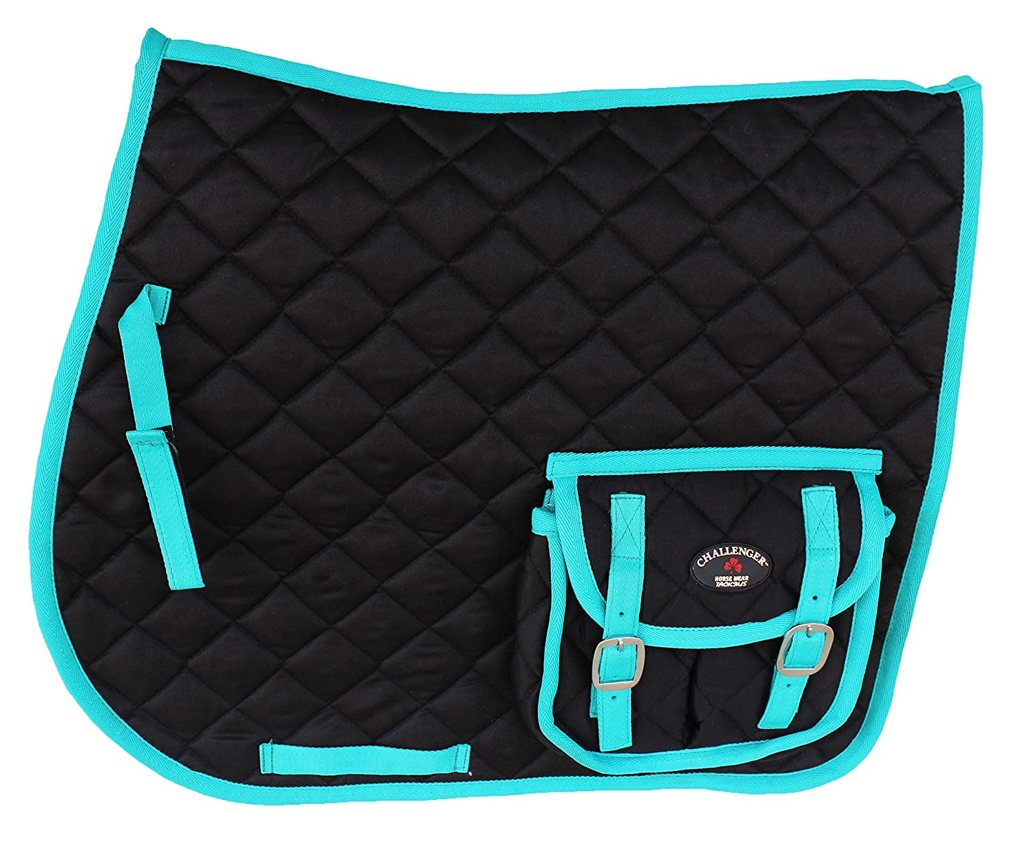 Black Teal Horse Quilted English Saddle PAD Trail Pockets 72113-116