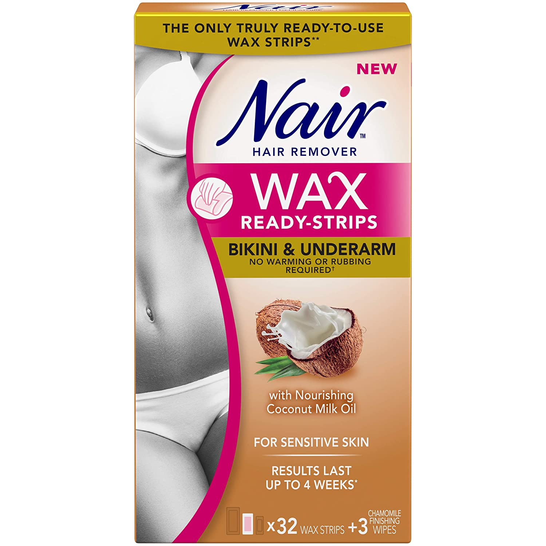 Nair Wax Ready Strips for Bikini & Underarm with Coconut Milk Oil, 32 Strips + 3 Finishing Wipes Church & Dwight