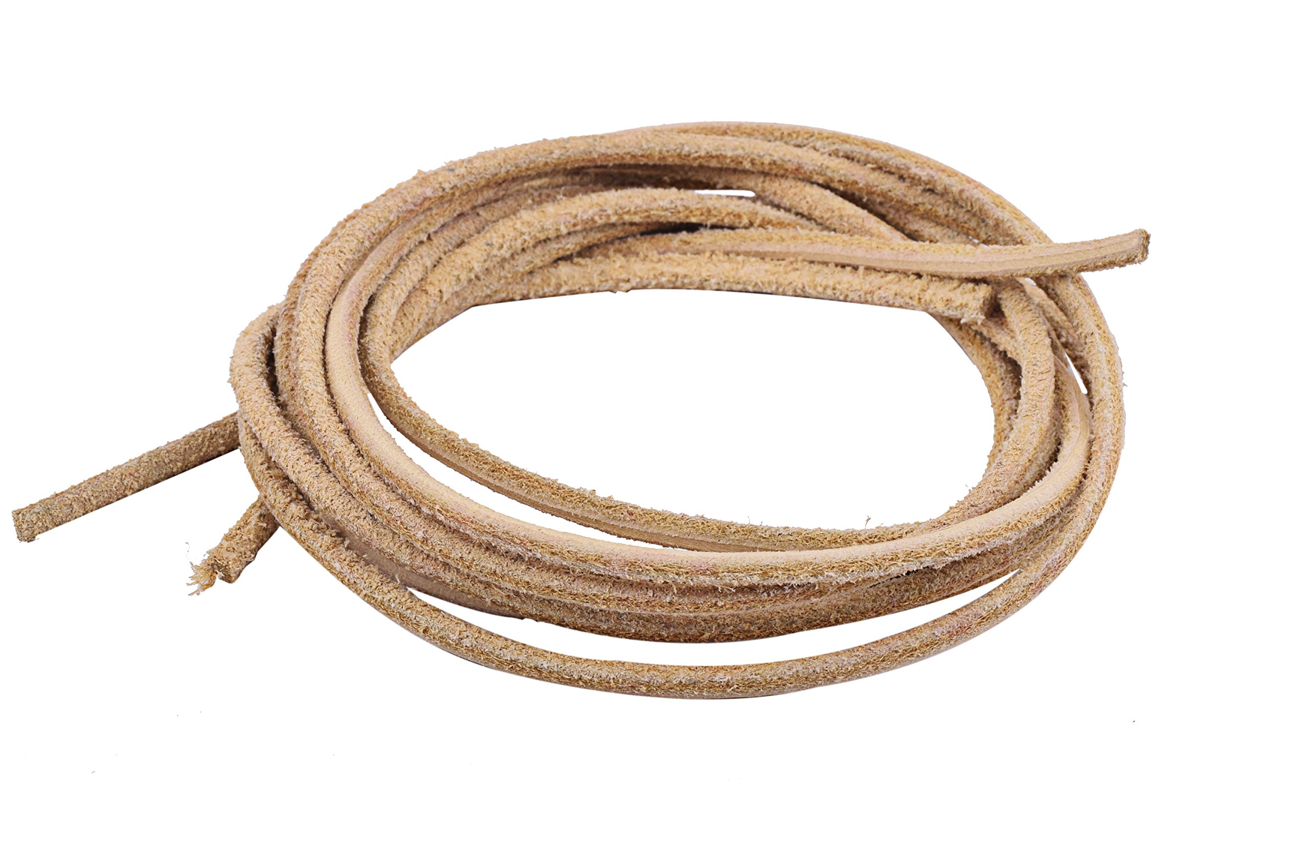 KONMAY 1 Pair Round Leather Boot Shoe Laces (72'', Natural)