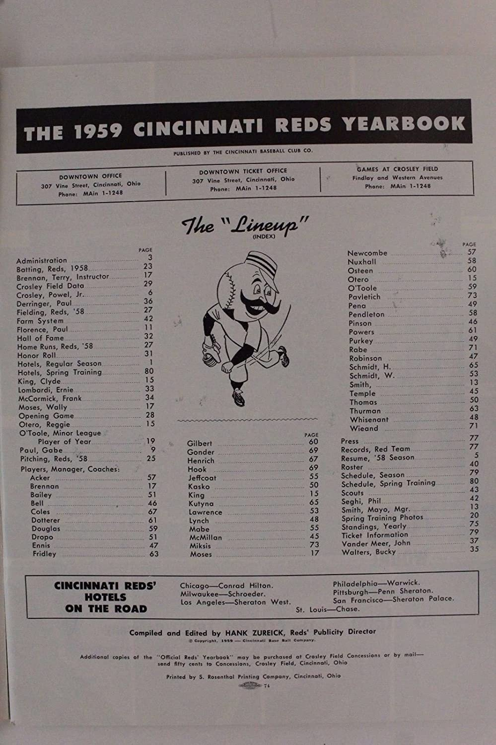 1959 Cincinnati Reds Yearbook Program Vintage Reds Memorabilia Spring Training at Amazons Sports Collectibles Store
