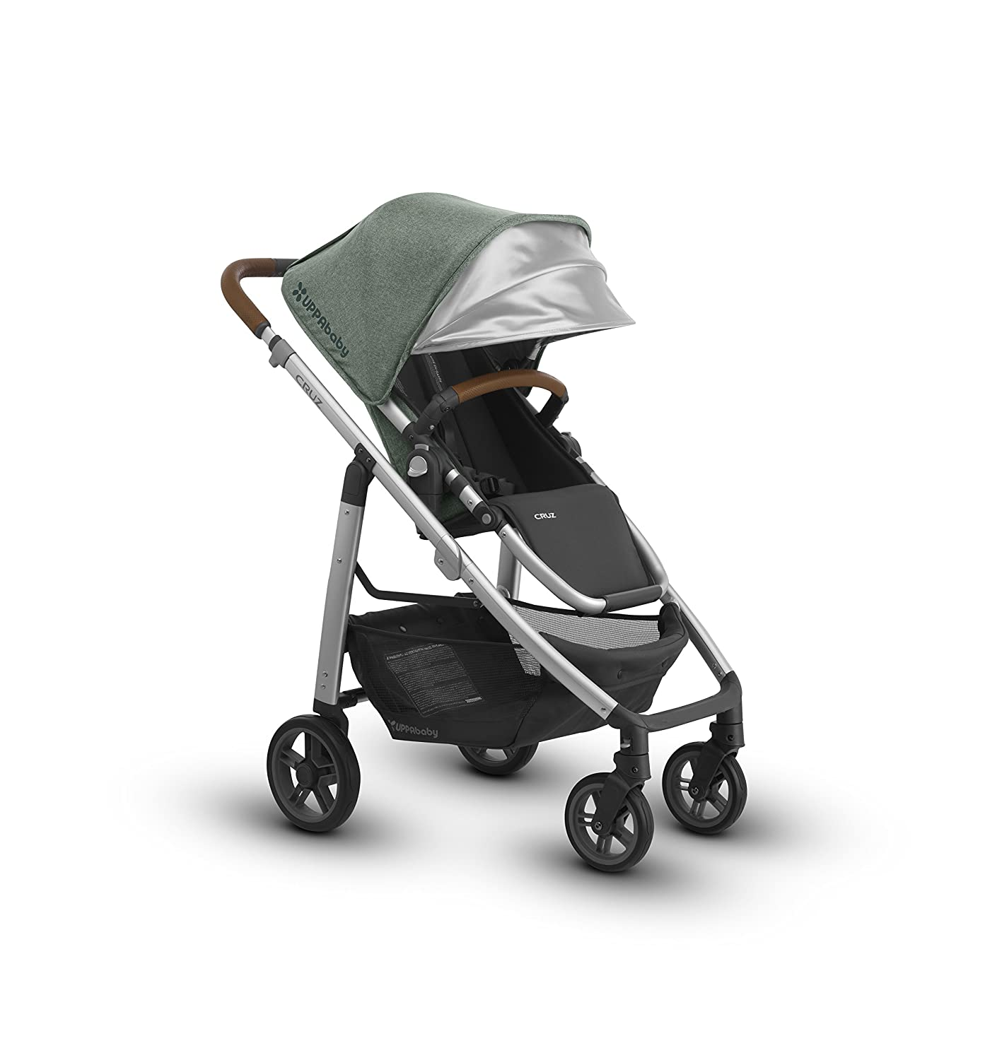 2018 UPPAbaby Cruz Stroller - Emmett (Green Melange/Silver/Saddle Leather) 81smFTihkwL