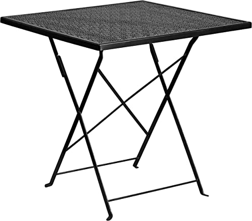 Flash Furniture Commercial Grade 28″ Square Black Indoor-Outdoor Steel Folding Patio Table