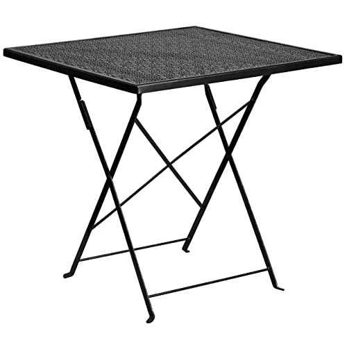 Flash Furniture 28 Square Black Indoor-Outdoor Steel Folding Patio Table