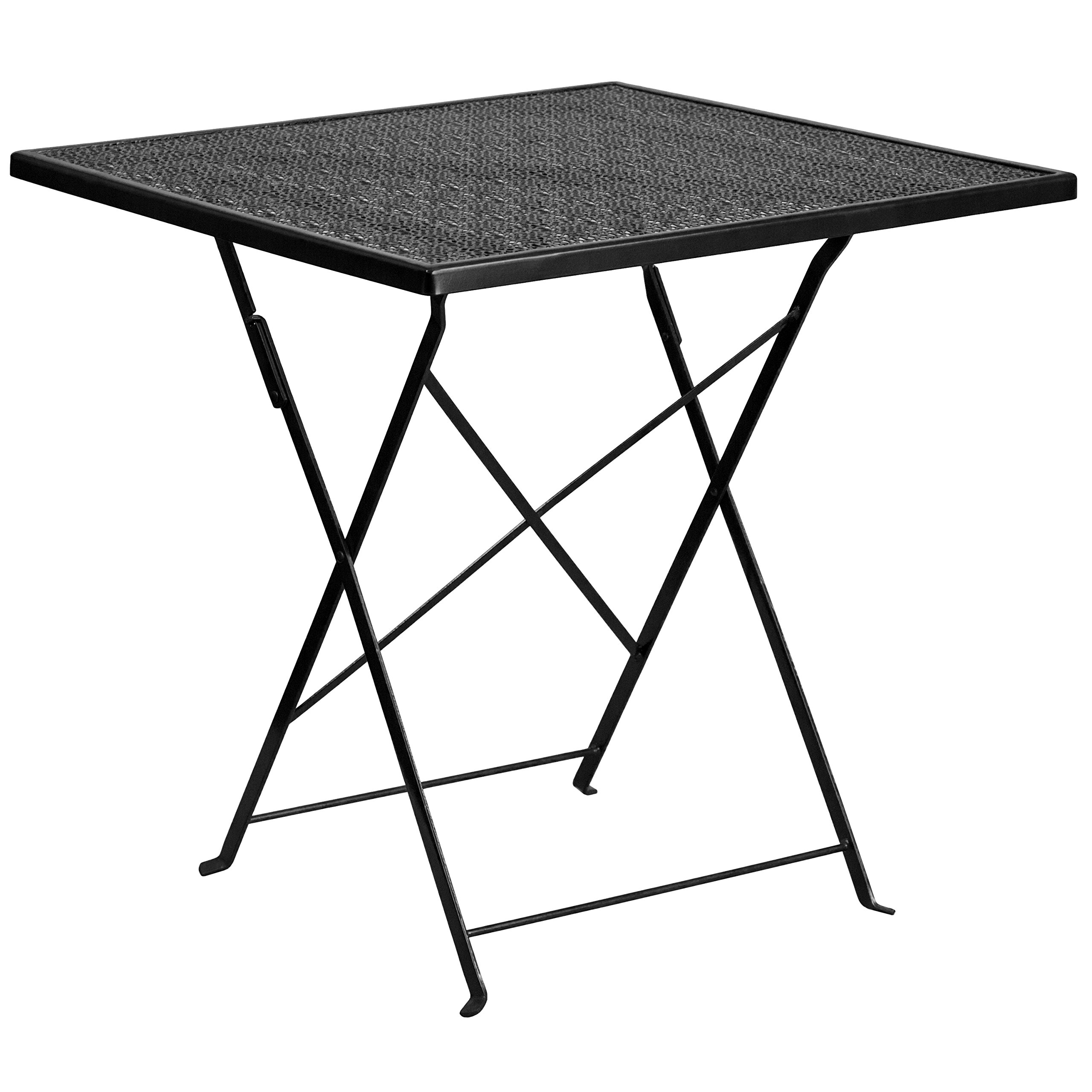 MFO 28'' Square Black Indoor-Outdoor Steel Folding Patio Table