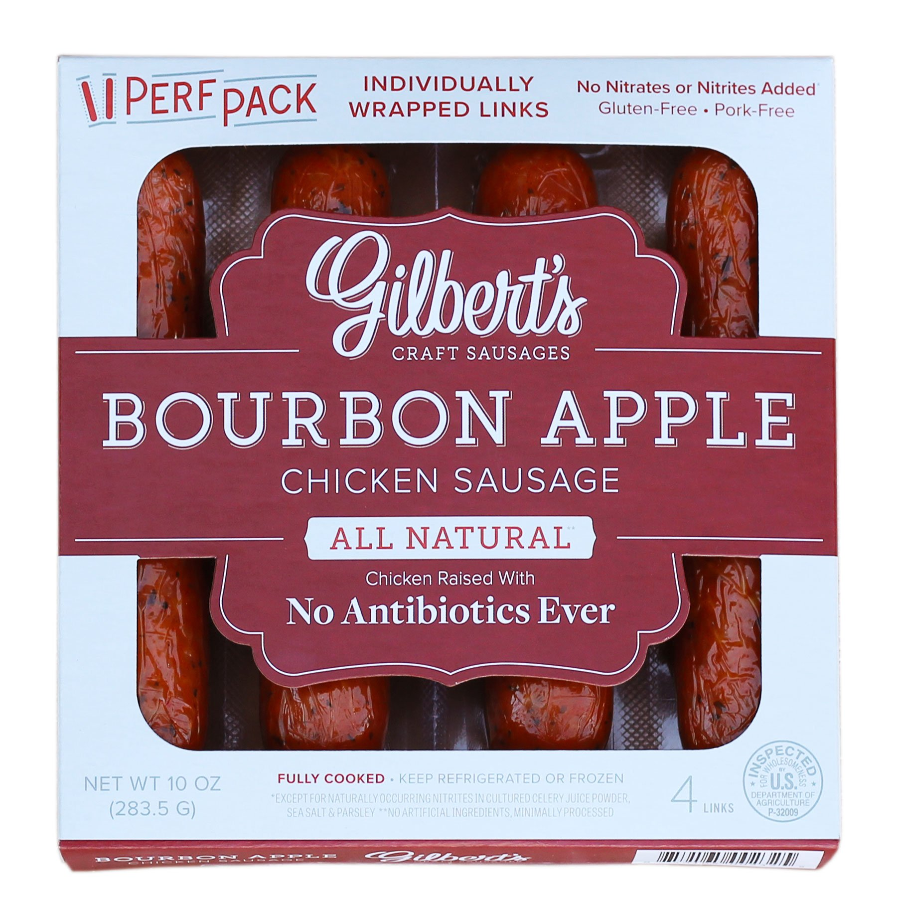 Gilbert's Craft Sausages Bourbon Apple Chicken Sausage, 10 Ounce by Gilbert's Craft Sausages