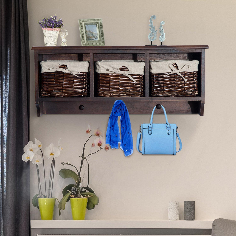 Festnight Hanging Entryway Storage Organizer with Baskets Hooks 31''