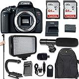 Canon EOS Rebel T7i DSLR Camera (Body Only) + 120 LED Video Light + Large Monopod + 128GB Memory + Shotgun Microphone + Camera & Flash Grip Handle Stabilizer