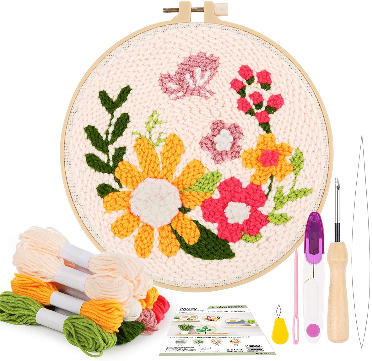 Easy to Use Looks Like Embrodiery Punch Needle Tool with Included Threader For Fine Detail and Designs