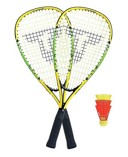 490114 2 handliche Alu-Rackets 54,5cm im 3//4 Bag Talbot-Torro Speed-Badminton Set Speed 4400 gelb-schwarz 3 windstabile B/älle