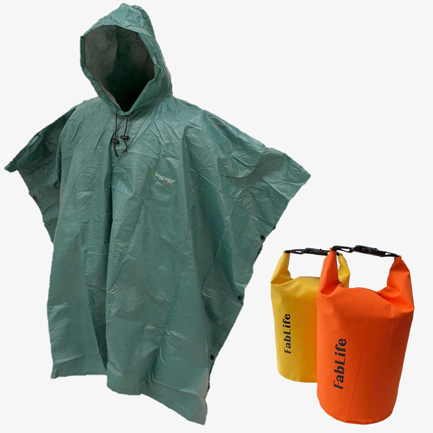 8c414ab9 Amazon.com : Frogg Toggs Ultra-Lite Packable Poncho and 2 Floating  Waterproof Dry Bags Bundle : Sports & Outdoors
