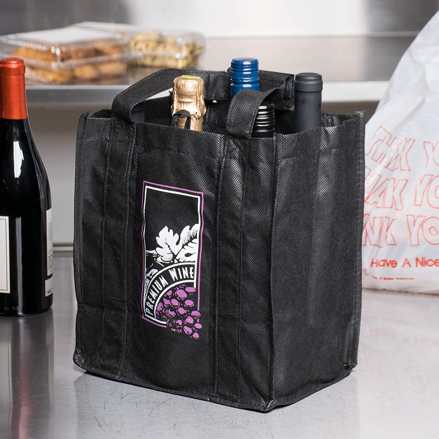 Non-Woven 6 Bottle Wine Carrier REUSEABLE TOTE BAG - 5 bags